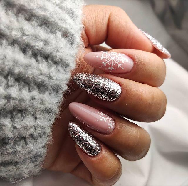 Shimmery Pink Stiletto Nails