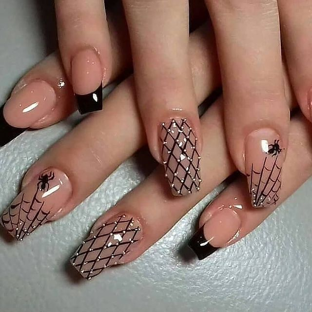 Sexy Nude Spiderweb Nails with Arachnoid Accents