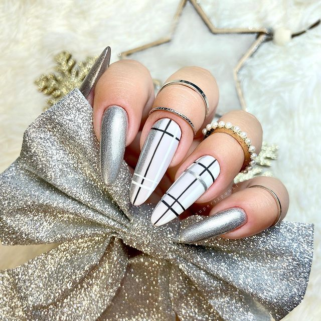 Silver Stiletto Nails with Posh Markings