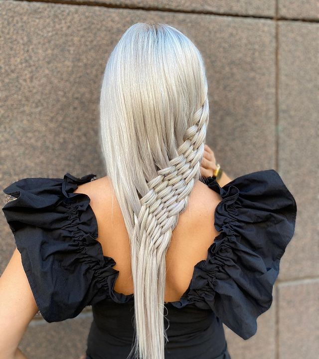 Asymmetrical Crochet Braid for Long Hair