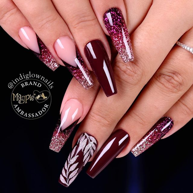 Deep Red Stiletto Nails with Sparkly Leaf Branches