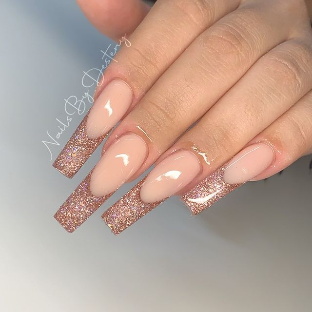 Nude Nails with Rose Gold Tips