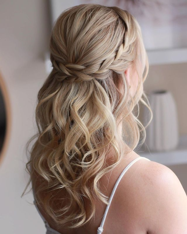 Braided Crown with Loose Ringlets