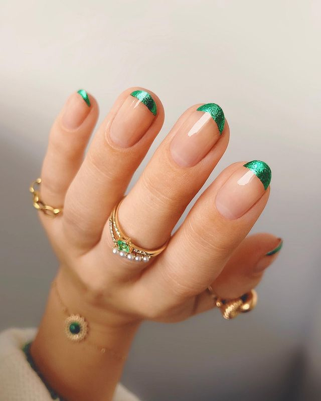 Metallic Green French Tips with Nude Nail Beds