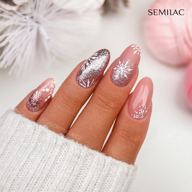 Shimmery Rose Nail Art with Snowflake Decals
