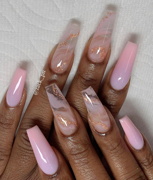 Pink Ombre Nails with Marbled Rose Gold Accents