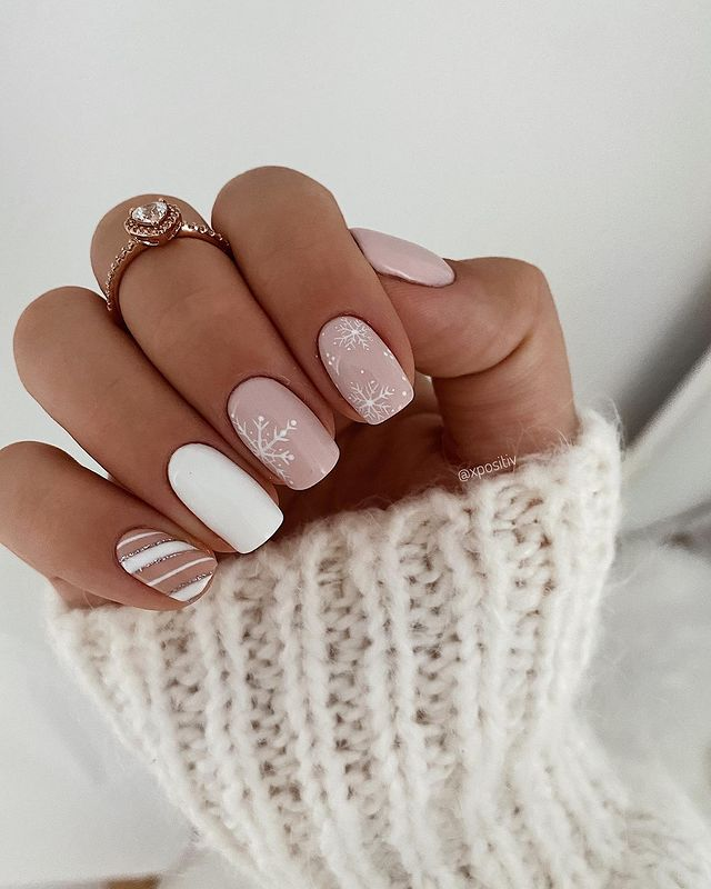Pale Pink and White Manicure for the Winter