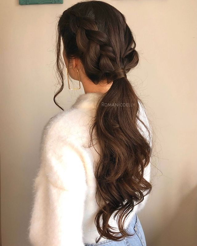 Loose French Braid Accents with Low Pony