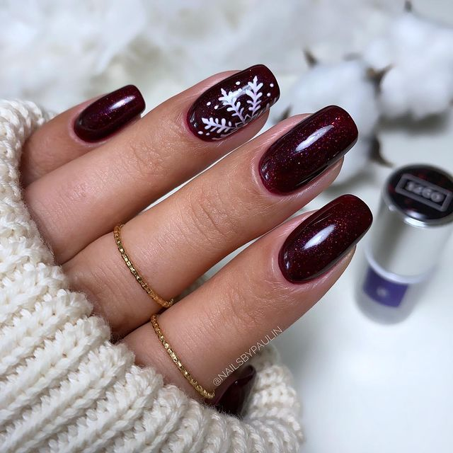 Glimmering Bordeaux Nails with Snowflakes