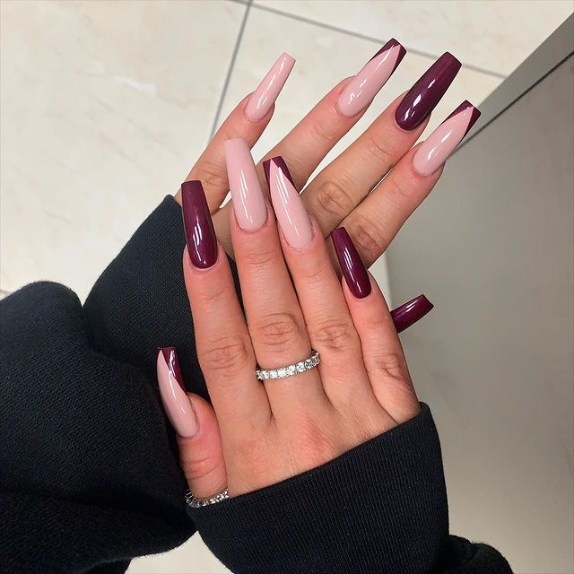 Sangria Nails with Nude Highlights