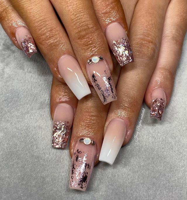 Medium Coffin Nails with Dusty Silver Details
