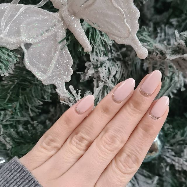 Almost Nude Nails with Silver-Crusted Cuticles