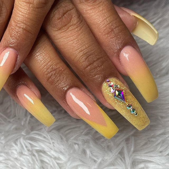 Mellow Yellow French Manicure with Big Bling