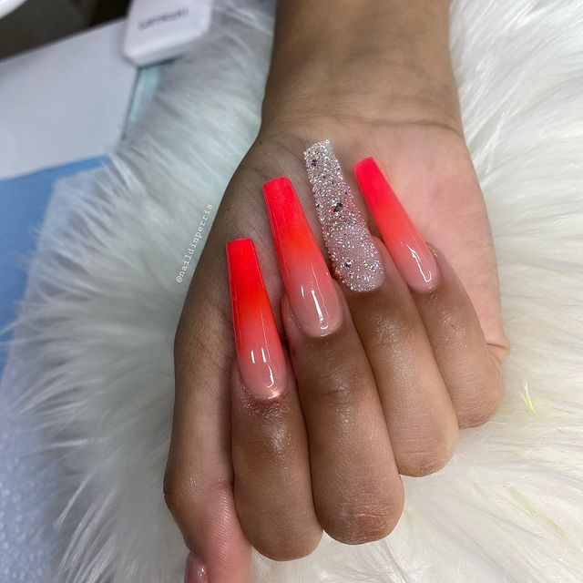 Reverse Ombre Watermelon Nails with Silver Embellishments