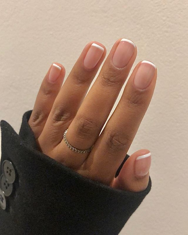 Short French Manicure with Square Tips