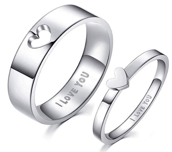 A 2 Pack Of Matching Heart Rings